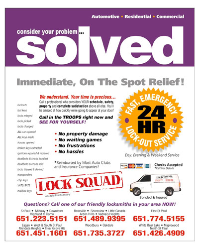 Lock Squad Ad - Locksmith and key duplication services